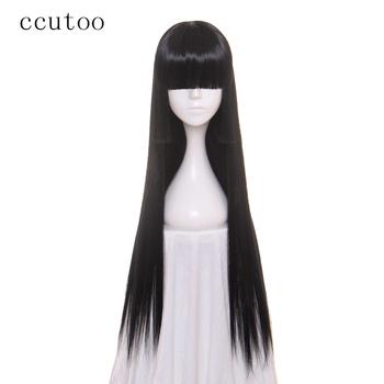 Ccutoo Jabami Yumeko 80 cm X długi piekło dziewczyna Enma Ai proste czarne włosy syntetyczne peruka do cosplay tanie i dobre opinie 1 sztuka tylko Elastyczne koronki long 130 Średnia wielkość Wysokiej Temperatury Włókna Średni brąz