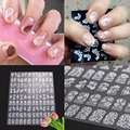 T2N2 Fashion 108pcs 3D DIY Flower Nail Art Stickers Flower Manicure Tips Decals White