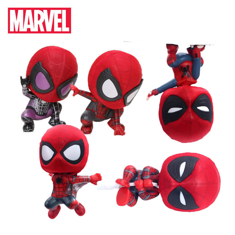 7-18.5cm Marvel Toys Avengers Magnet Spider Man Homecoming PVC Action Figures Q Version Mini Spiderman Model Doll Car Decoration(China)
