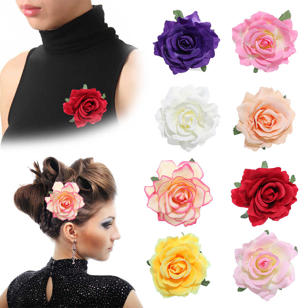 1 PC New Fashion Chic Bridal Rose Flower Hairpin Wedding Bridesmaid Brooch Party Hair Clip Barrettes Accessories bijoux femme