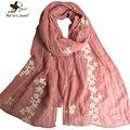 Elegante Diseño Mujeres Bufandas de Algodón Puro bordado Mantones largos de Moda Al Aire Libre Sun-Protección de Viaje Ocasional señoras echarpe