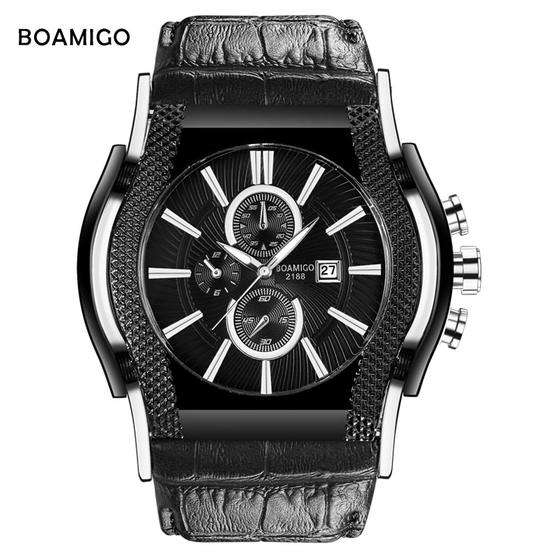 luxury mens watches BOAMIGO brand men quartz watch genuine leather wristwatches big dial auto date gift clock relogio masculino women men quartz silver watches onlyou brand luxury ladies dress watch steel wristwatches male female watch date clock 8877