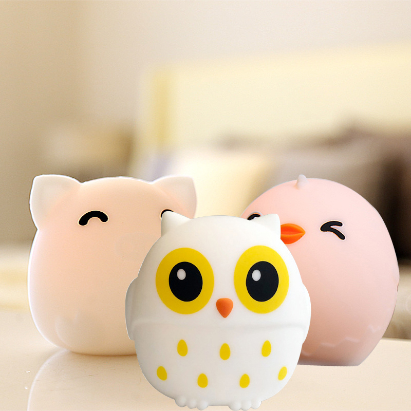 Silicone 3 Colors Changing Owl Chick Night Light Rechargeable Animal Touch Sensor Tap Control Lamps Baby Kids Bedroom Home Decor in LED Night Lights from Lights Lighting