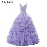 Ruby Bridal 2017 Hot Sale Sexy Purple Quinceanera Dresses Ball Gowns Long Organza Beaded Catch Bubble Sweet 16 Dresses R293
