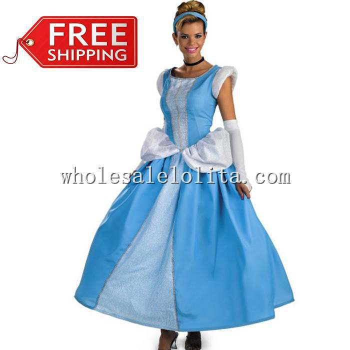 Top Fasion Cotton Chiffon Sleeveless Shipping Adult Cinderella Costumes Princess Costume Cosplay Halloween for Women