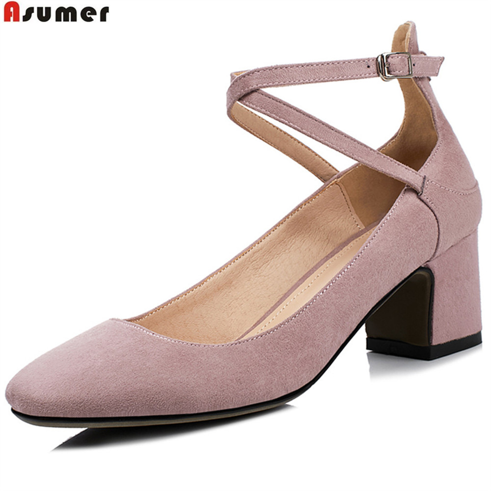 ASUMER black pink fashion square toe buckle spring autumn ladies single shoes shallow square heel women high heels shoes size 43 asumer gold silvery fashion square toe buckle ladies single shoes spring autumn women high heels shoes big size 32 44