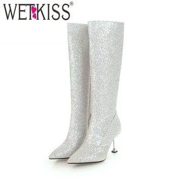 WETKISS New Knee High Women Winter Boots Crystal Bling Footwear Pointed Toe Party Lady Shoes High Heels Female Boots 2018 Black