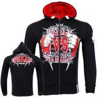 VSZAP Fight MMA Fist Long Sleeved Sweater Hoodie Coat Muay Thai Martial Arts Fitness Sporting Men