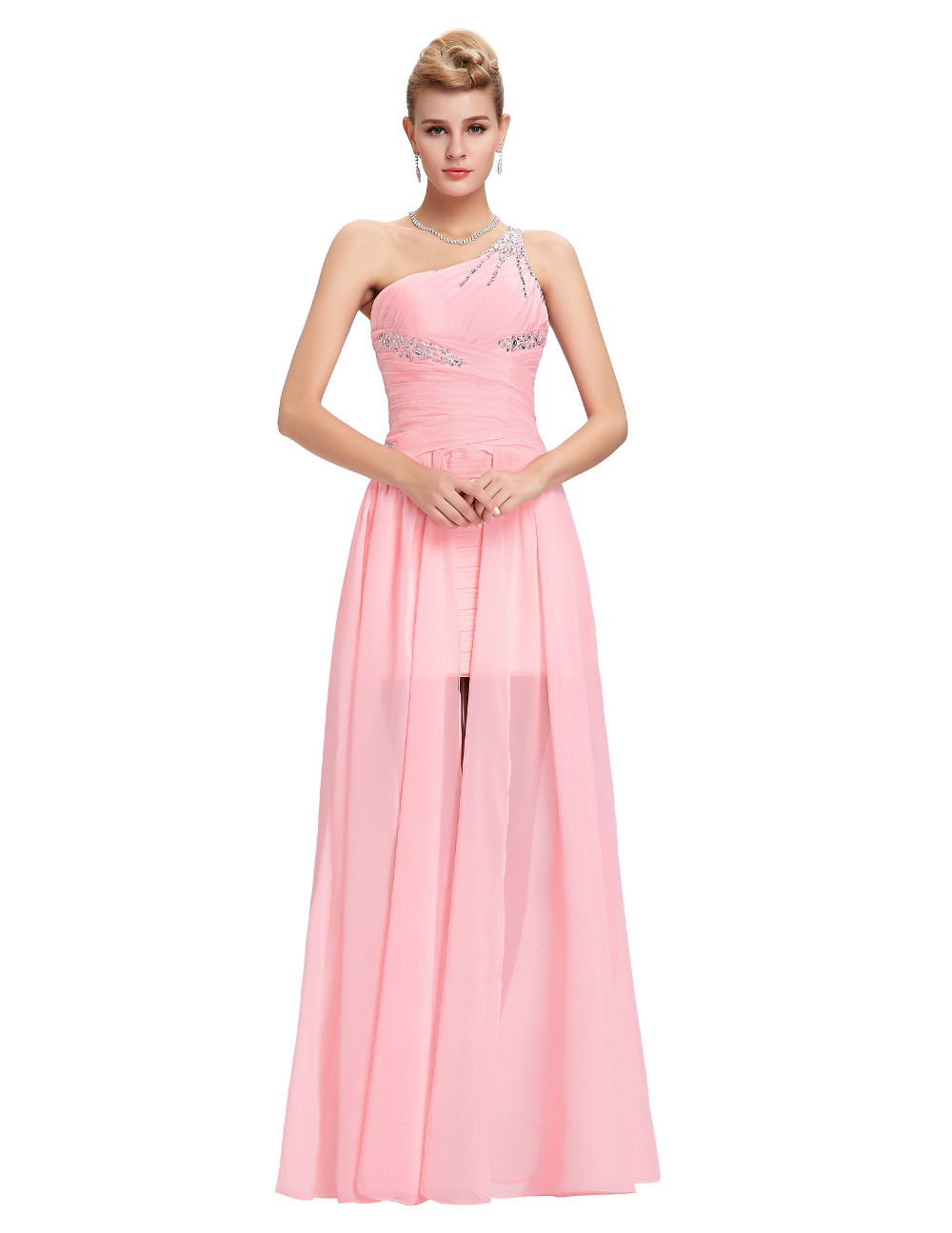 Elegant One Shoulder Pink Short Front Long Back Chiffon Bridesmaid Dress