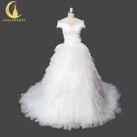 Rhine Real Picture New Arrival Sexy Boat Neck Short Sleeves Eyelash lace Ball gown Bridal Wedding Dresses