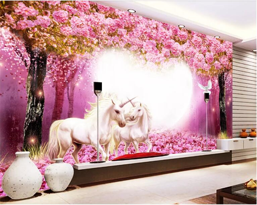 beibehang Customized 3d wallpaper Warm Taoyuan Woods White Horse Unicorn 3D TV Children's room Background Wall wallpaper 3d