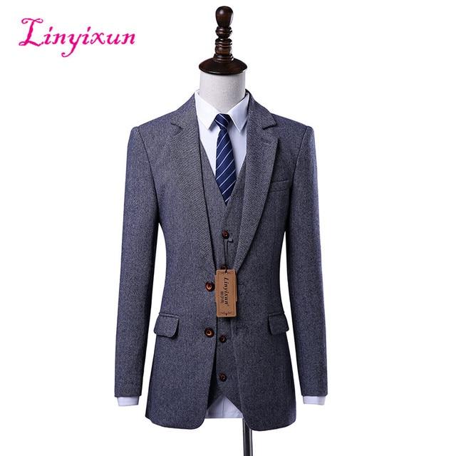 2018 New Wool Retro Gentleman Style Tailor Suits For Men Wedding Party Dresses Safari Slim