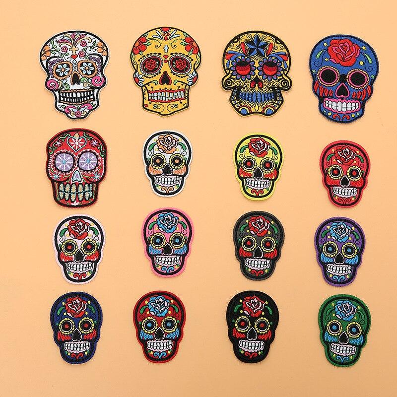 Patchs brodés tête de mort sucre du mexique   Badges en tissu pour la journée des morts, Applique de couture pour vestes et Jeans, bricolage