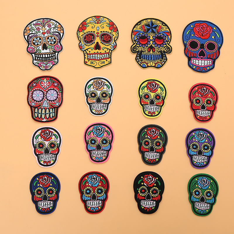 day of the dead candy skull sequin embroidered lace applique motif patch costume