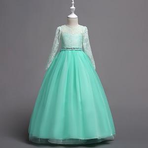 Image 5 - Hàng Mới Về Công Chúa Tay Dài Hồng Đầm Ren Hoa Bé Gái Váy Đầm Bé Gái Cuộc Thi Đầm Rước Lễ Lần Đầu Đầm Dài Dạ Tiệc
