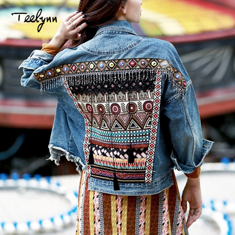 TEELYNN Denim female jacket autumn vintage ethnic appliques Embroidery tassel loose coat long sleeve Outerwear jacket