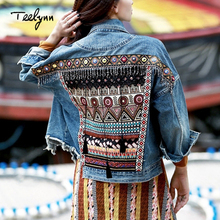 TEELYNN Denim female jacket autumn vintage ethnic appliques Embroidery tassel lo