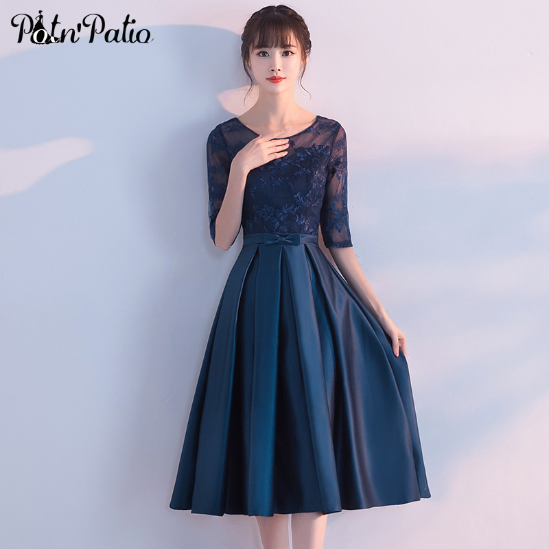 Potn 39 patio a line tea length medium long navy blue for Blue wedding dress with sleeves