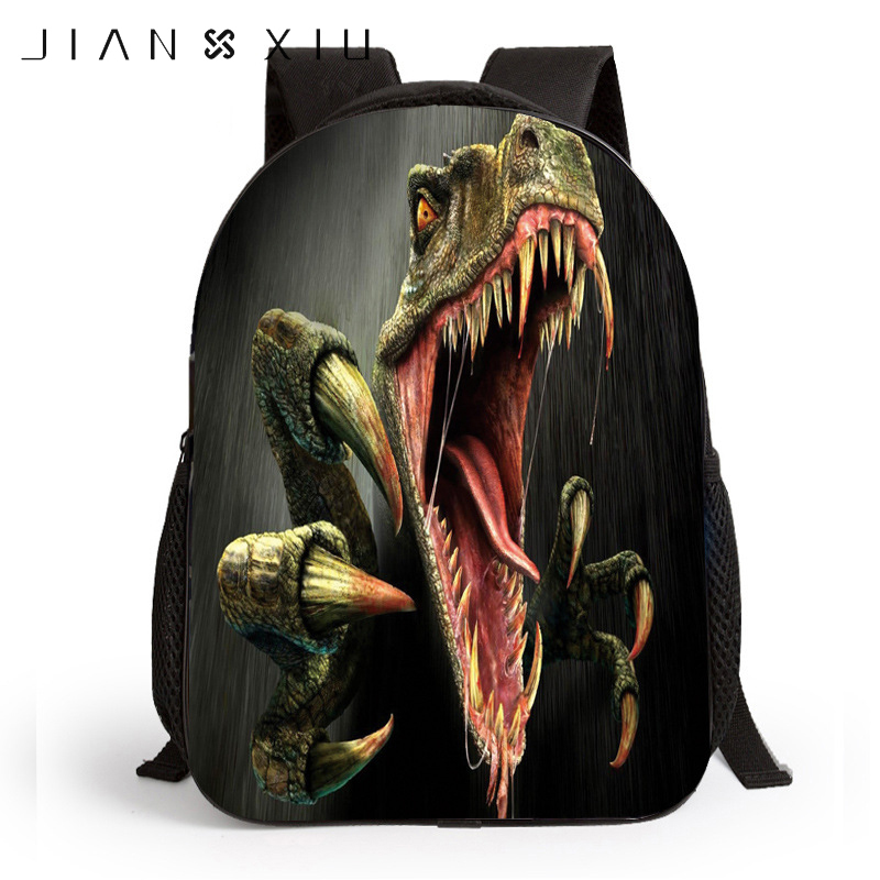 JIANXIU Children 3D Printing Backpacks School Bags 12 Inch Backpack Tyrannosaurus Rex Cartoon Kids Students Schoolbags