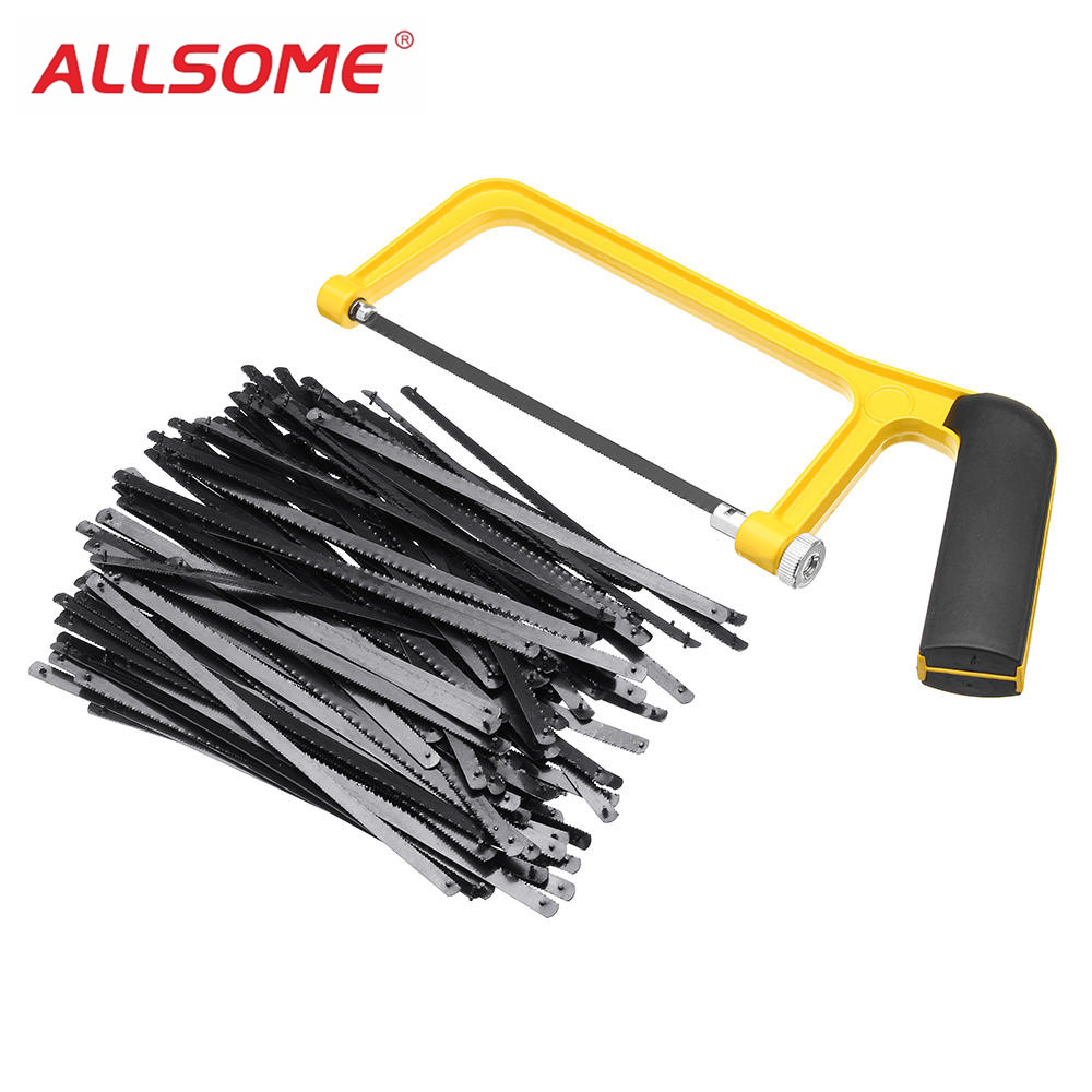 ALLSOME 6 Inch 150mm Saw Blade Plastic Handle Mini Saw Frame Hacksaw Rack For Woodworking HT2416-2417+