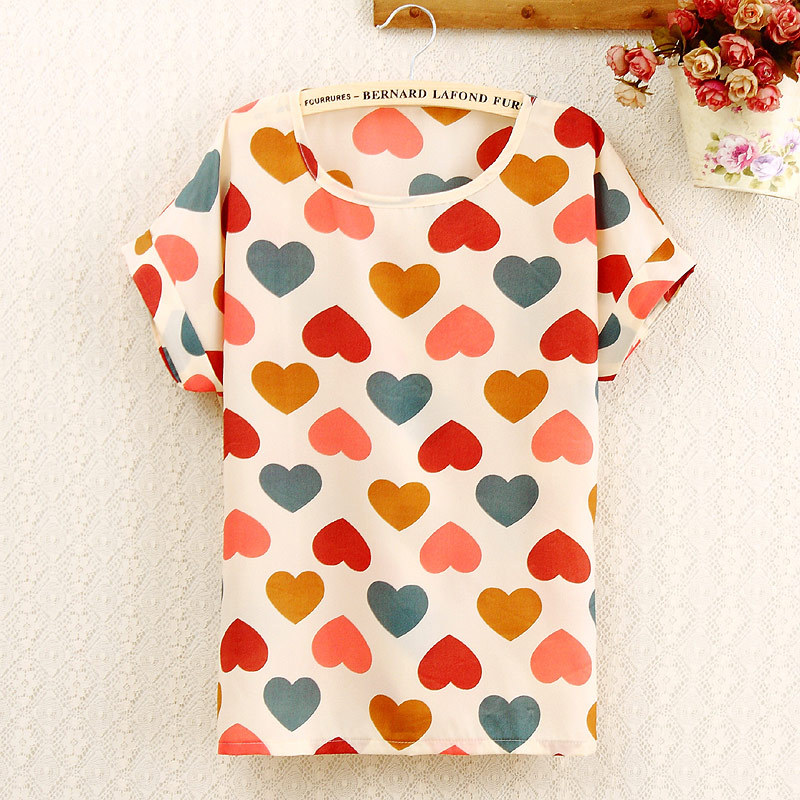 CHSDCSI Women Polyester Blouse Stripe Big Dot Blouse Summer Short Sleeve Casual Shirts Thin Print Tops Love Blusas Ladies Shirt