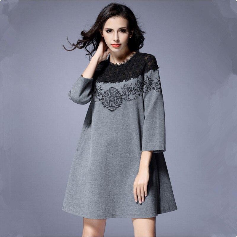 2019 automne robe de grande taille femmes mode dentelle broderie Patchwork L-5XL en vrac une pièce robes femme de haute qualité - 6