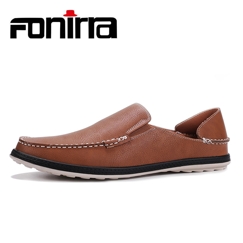 FONIRRA Men Casual Shoes Solid PU Leather Mocassim Male Driving Shoes Breathable Slip-on light loafers Flats Big Size 41-46 409 brand new fashion summer spring men driving shoes loafers pu leather boat shoes breathable male casual flats loafers big size