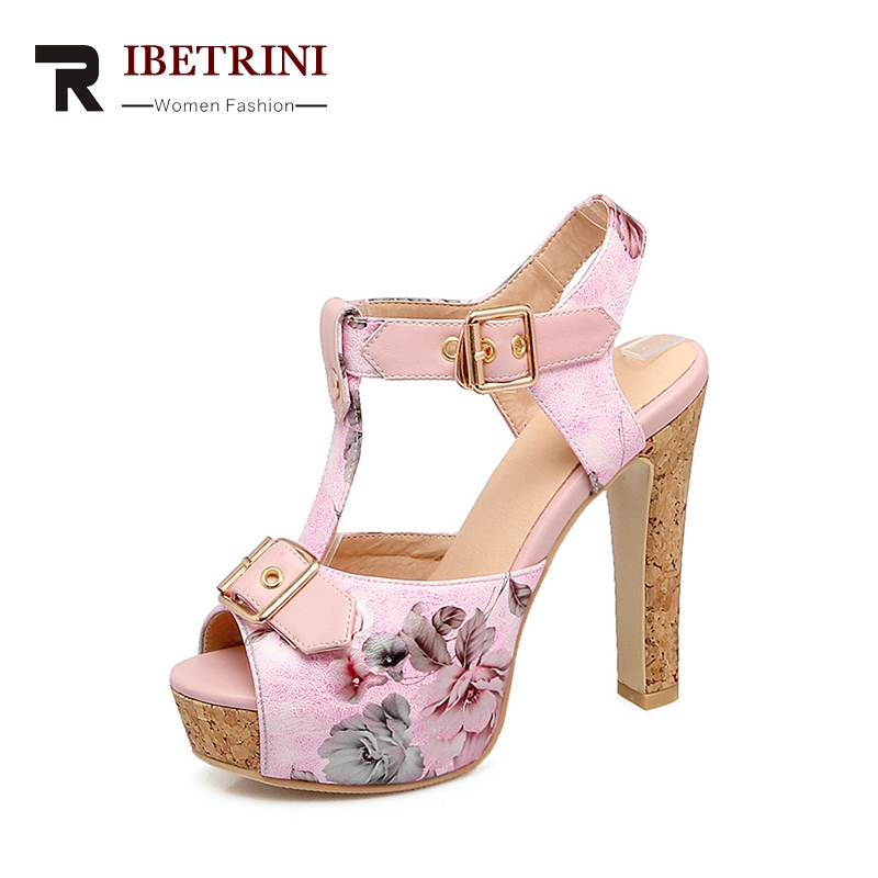 RIBETRINI 2018 Summer New Sweet Print Shoes Woman Platform Super High Heel T-Strap Sandals Plus Size 32-46 Casual Women Shoes ribetrini women hot sale cow leather low heel wedges summer casual shoes woman ankle strap open toe platform sandals size 34 39