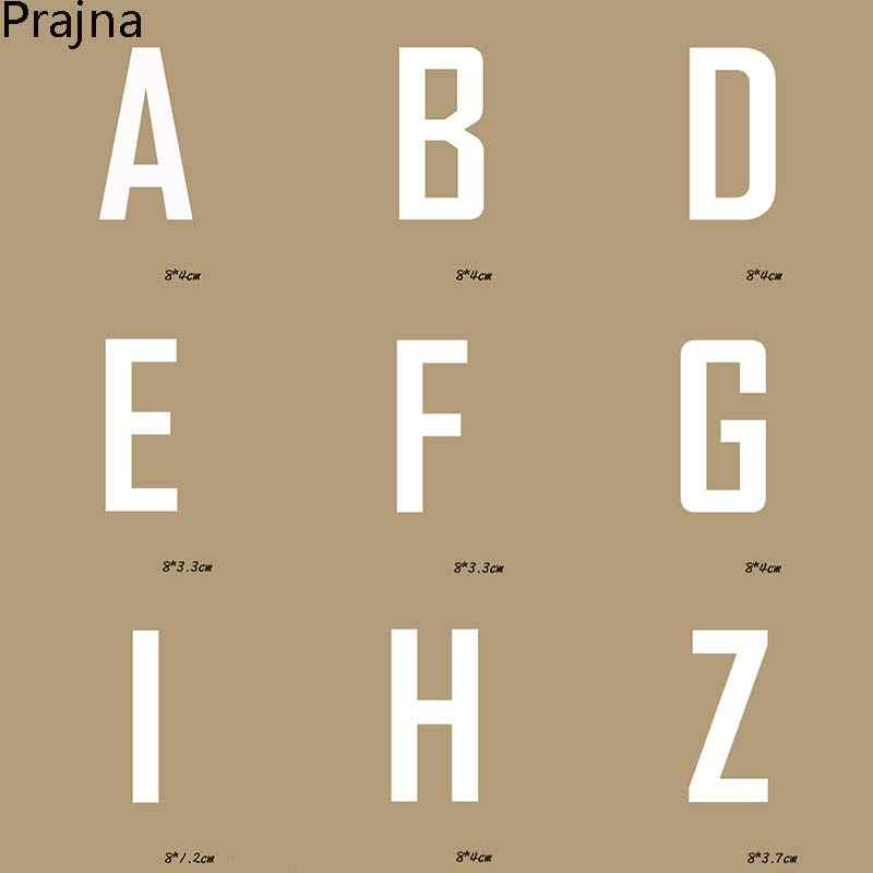 Prajna Alphabet Patches Termoadhesivos Brief Aufkleber Wärmeübertragung Patch Logo Applique Kleid Weiß Englisch Brief Muster F