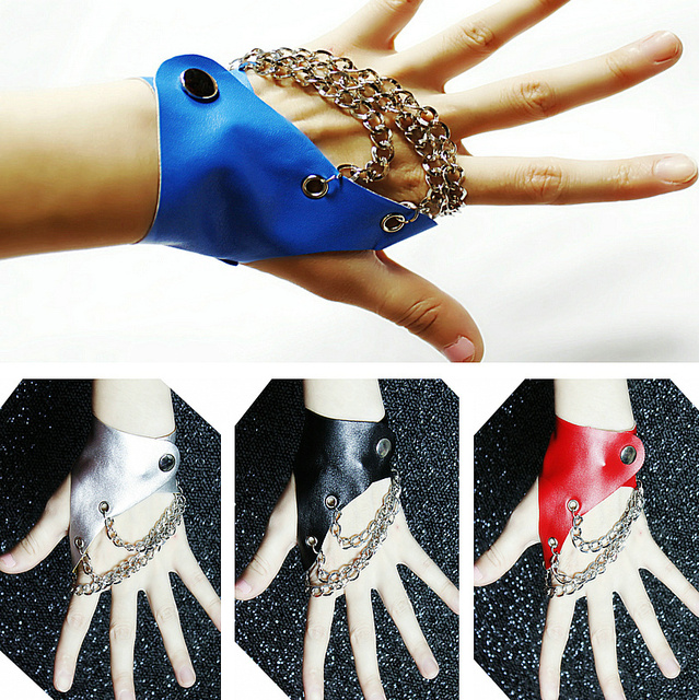 Ds gloves slip-resistant jazz dance leather personalized gloves 0381