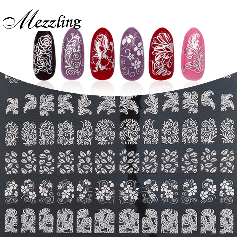 3D Nail Art Stickers Decals,108pcs/sheet High Quality Silver Metallic Mix Flowers Designs Nail Tips Accessories Decoration Tools kiss набор стикеров из страз nail artist metallic stickers