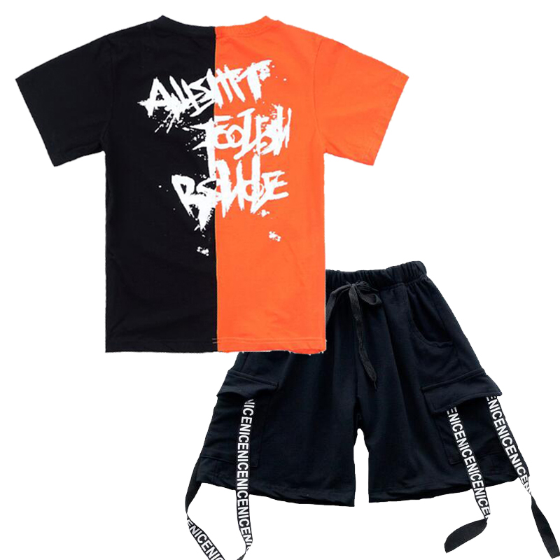Summer hip hop dance costumes kids streetwear for girls boys competition Hip-hop clothing Suit Novelty Stitching t-Shirt Shorts
