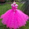 Шикарное платье-пачка с цветами для девочек  Лидер продаж  розовое платье на свадьбу  блестящее платье-пачка с треугольным вырезом  платье д...
