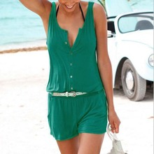 Пикантные летние пляжные Комбинезоны для малышек женские комбинезон Шорты без рукавов Одна деталь короткие трусики костюм