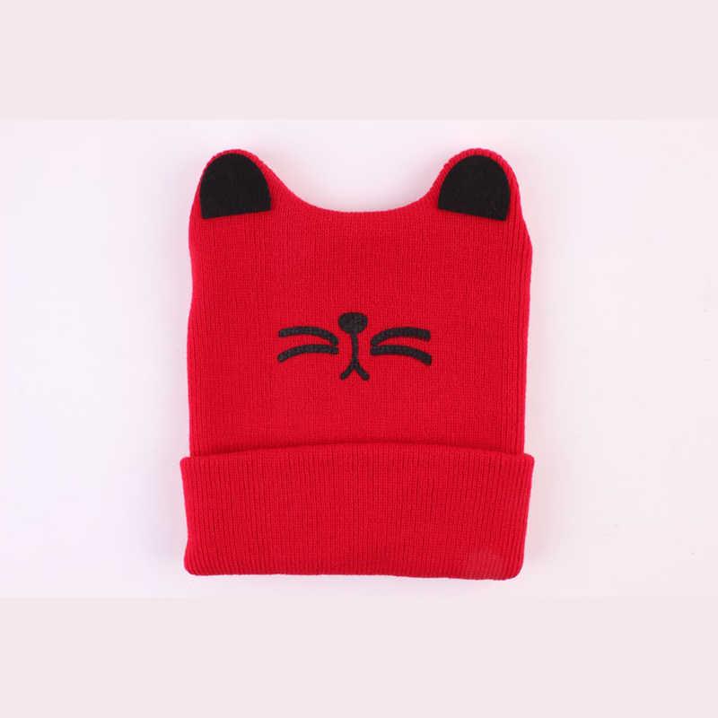 แมวน่ารักเด็กหมวกถักหมวกฤดูใบไม้ร่วงฤดูหนาวเด็กวัยหัดเดินหมวกเด็กหมวกหมวกยืดทารก Bebe แมว Beanie Bonnet 6-36 เดือน