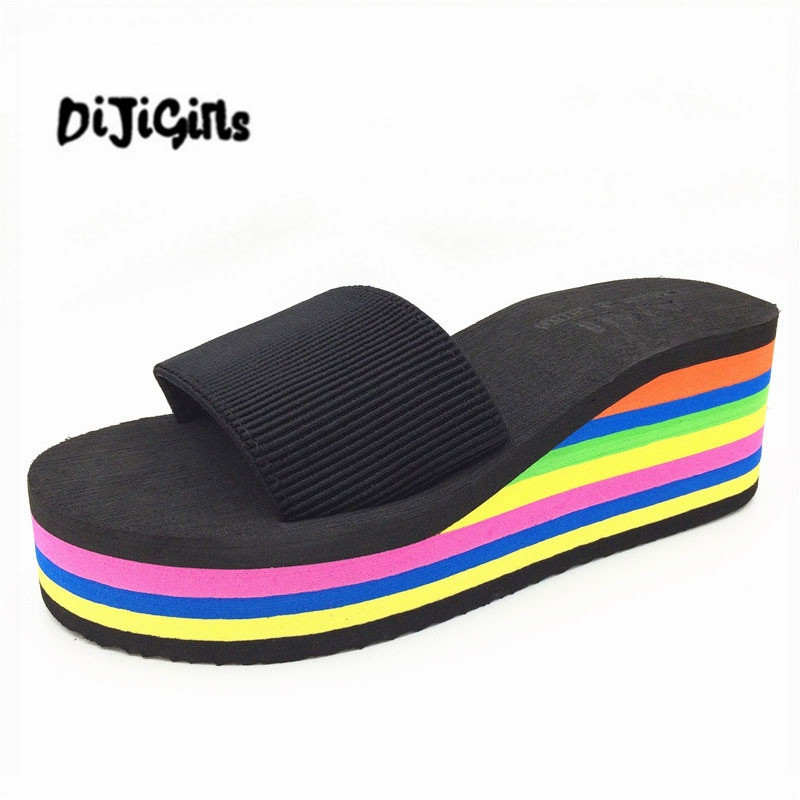 Designer Wedges Slippers Women Platform Sandals Wedge Slippers Slides Rainbow Summer Thick Heel Ladies Shoes black women wedge slippers 12cm high heel platform pumps genuine leather shoes woman gladiator sandals slides wedges creepers