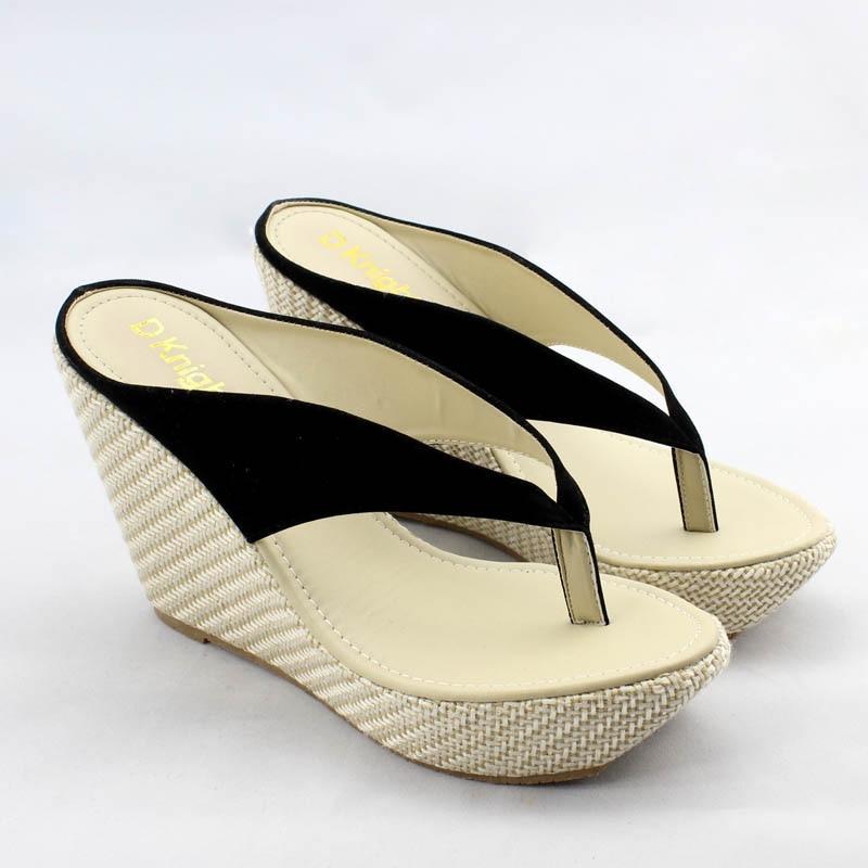 Женские домашние сандалии модные босоножки-вьетнамки на платформе Босоножки на танкетке пляжные шлепанцы на высоком каблуке размера плюс; большие размеры 33-41