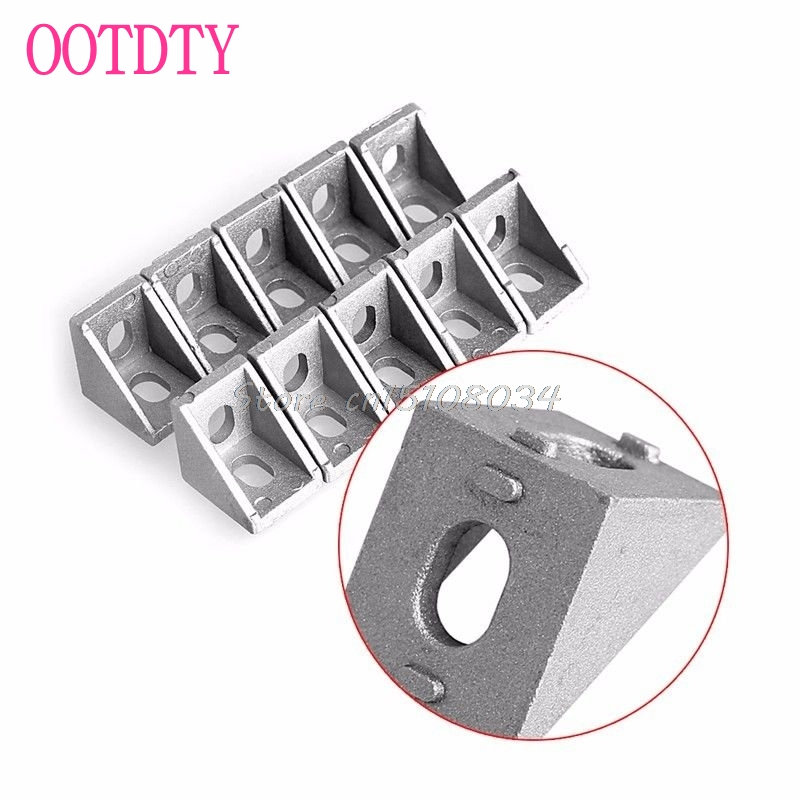 10Pcs Aluminum Brace Corner Joint Right Angle Bracket Joint L Shape 20x20mm New #S018Y# High Quality 10 pcs lot silver color metal corner brace right angle l shape bracket 20mm x 20mm home office furniture decoration accessories