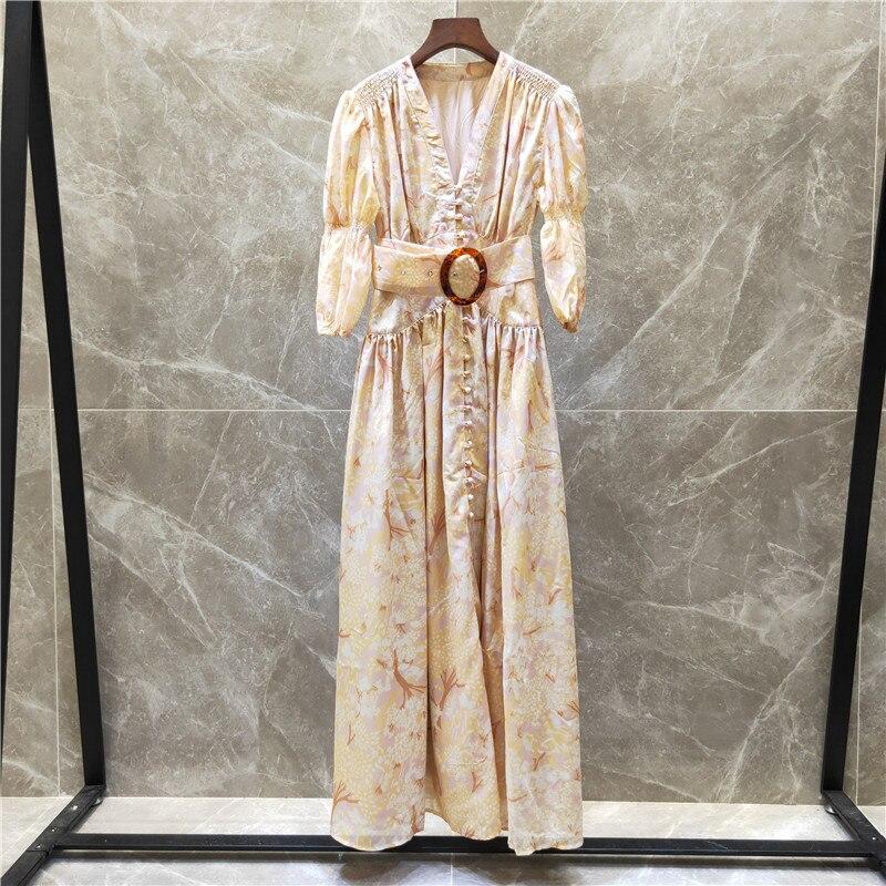 Femmes vintage mode bouton avant maxi robe col en v manches bouffantes sexy robes imprimé floral a-ligne nouveau 2019 printemps été