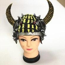 7bf1e6e45a4fd8 Creative Masquerade Ball Roman Helmet Bull Horn Devil Hat Warrior Hats  Ancient Rome Halloween Props Purim