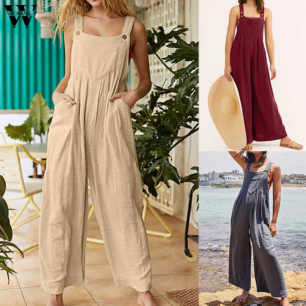 Womail Bodysuit Women Fashion Summer Safari Style Solid Sleeveless Long Jumpsuit With Pockets Work Jumpsuit Casual 2019 M529