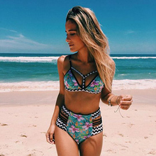 Newly Women Split Swimwear Set Floral Printed Bikini High Waist Briefs Swimsuits for Summer BF88