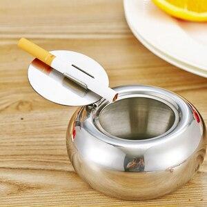Оригинальная пепельница с крышкой в форме барабана из нержавеющей стали, с крышкой, для автомобиля, гостиной, офиса, пепельница для сигарет, бездымный пепельница для сигар