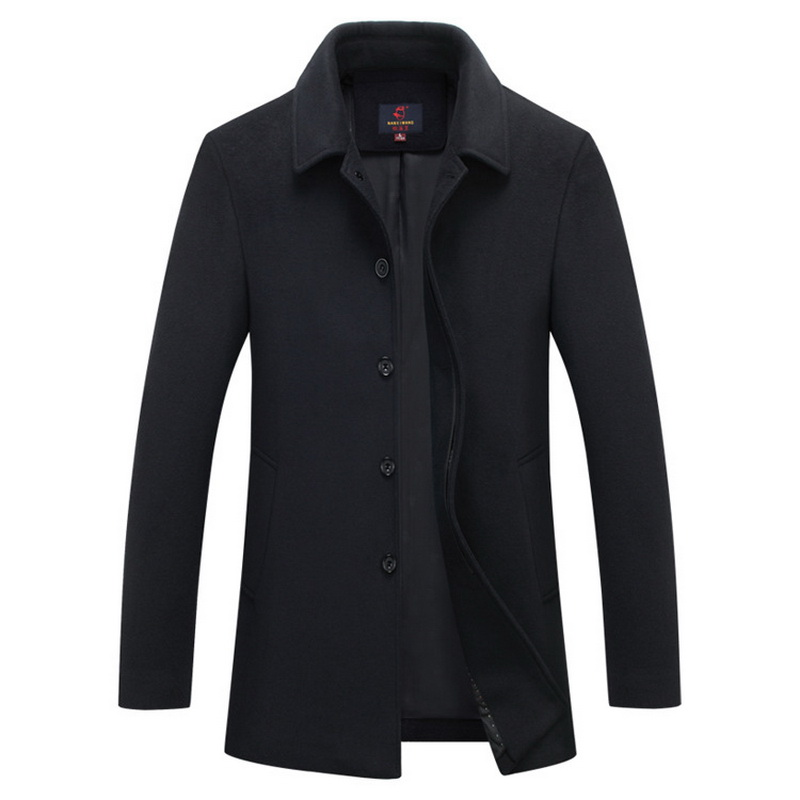 New Winter mens warm Windbreaker trench Jacket coat woolen long peacoat men slim fit casual thick overcoat Single breasted black