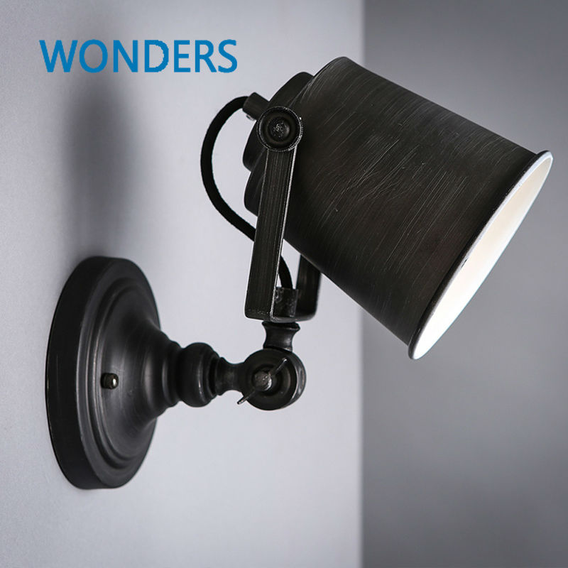 Nordic Vintage Industrial Wall Lamp Classic Black Art Wall Sconce Decorative Adjustable Loft LED Light Swing Arm Wall Lights