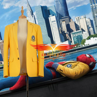 Spider Man:Homecoming Peter Benjamin Parker Outer Yellow Jacket Top Coat Adult Halloween Cosplay Costume Spiderman Cos