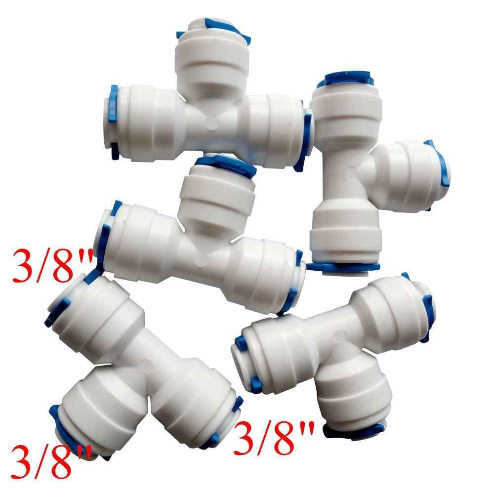 "Pack of 5 3/8 ""OD Tabung OD T Konektor Cepat Tee Sama Fitting RO Water Reverse Osmosis Aquarium Sistem konektor ROUT-3-3-3"