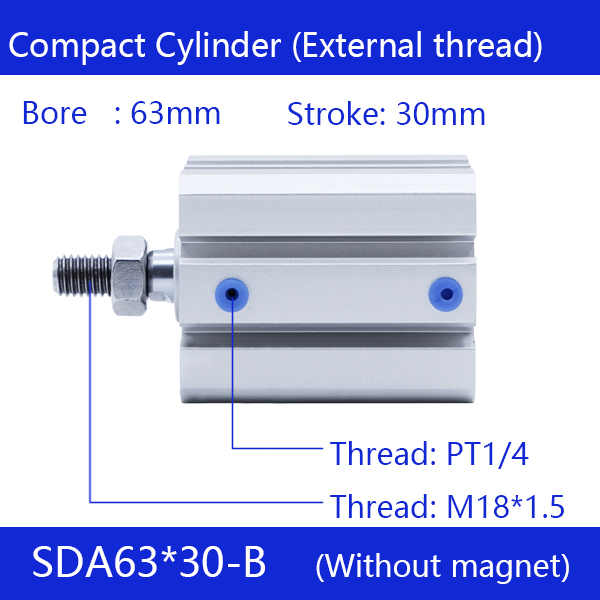 SDA63*30-B Free shipping 63mm Bore 30mm Stroke External thread Compact Air Cylinders Dual Action Air Pneumatic Cylinder