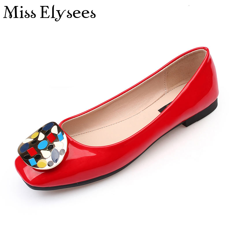 Colorful Stone Buckle Ballet Flats Women Square Toe Slip on Fashion Ladies Shoes Flats Summer Leisure Shoes Plus Size35-43 new 2017 spring summer women shoes pointed toe high quality brand fashion womens flats ladies plus size 41 sweet flock t179