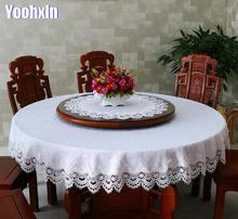 Modern lace white satin Tablecloth embroidery dining kitchen tea coffee Table Cover cloth Christmas home party Wedding decor new white lace cotton crochet tablecloth coffee table cloth mat round tea table cover dining christmas xmas party wedding decor